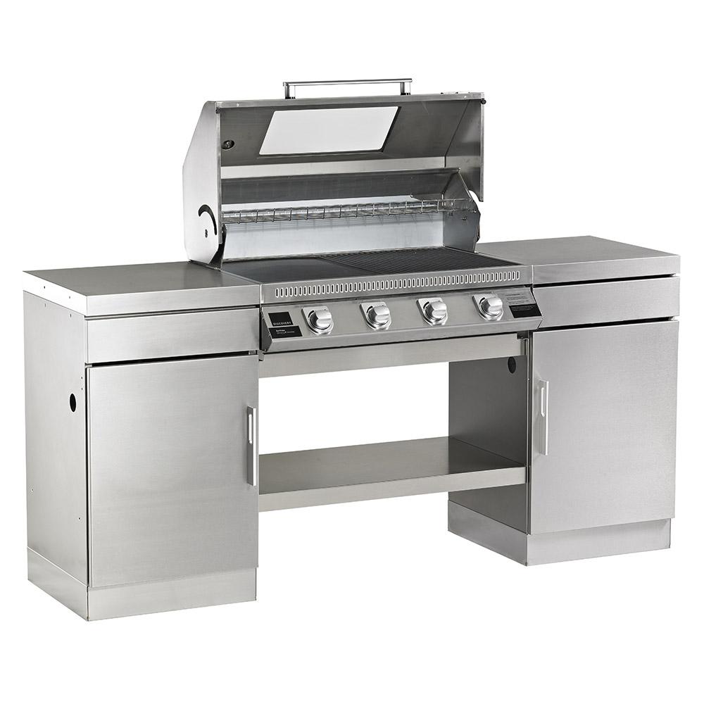 1100S Series – Cuisine extérieure 4 bruleurs avec 2 armoires et une étagère de fond
